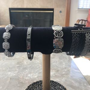 Set of Four Black, Silver and Gray Bracelets